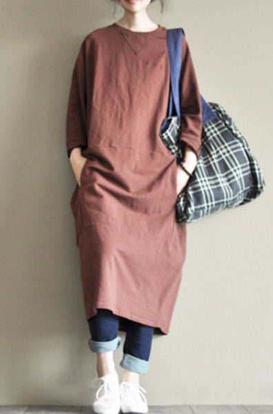 Two Colours Round Collar Fleece Long Dress Causel Women Clothes