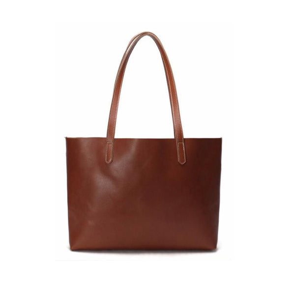 Vintage Genuine Leather Women Tote Bag Handmade Shopping Bag
