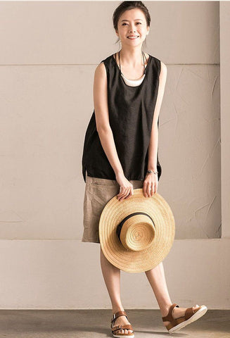 Black Summer Linen Loose T-shirt For Women Top B102B