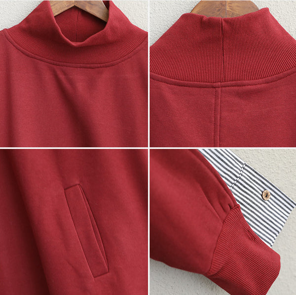 Women High Neck Cotton Fleece Casual Tops Q1993