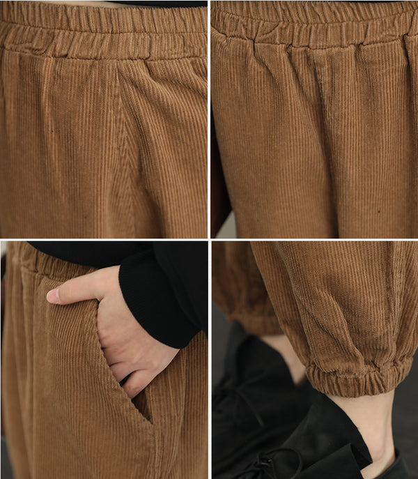 Loose Thick Corduroy Casual Pants For Women QT323