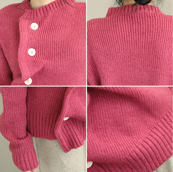 Pink Button Down Irregular Loose Sweater For Women Q2089