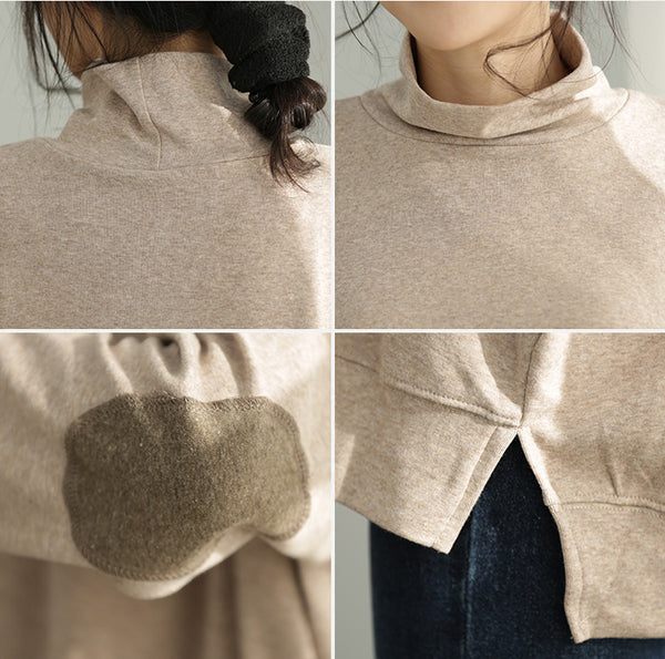 Loose High Neck Cotton Casual Shirt Women Fashion Tops Q2166