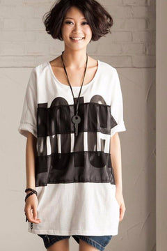 White/Black/Gray Simple Big Letter T-shirt Causel Matching Blouse Women Clothes T50A