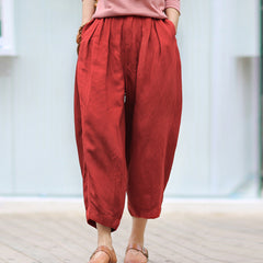 Linen Pure Color Casual Bloomers For Woman
