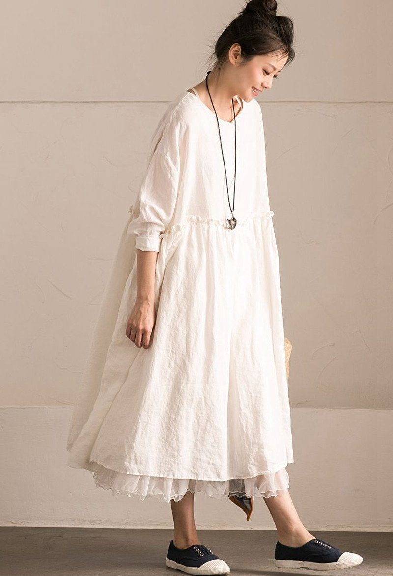 White Linen Summer Casual Plus Size Dresses For Women ...