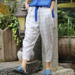 Women Simple Linen White Plaid Trousers Turnip Pants