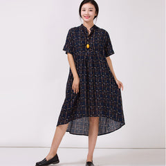 Women's Stand Collar Cotton Colored printed Dress