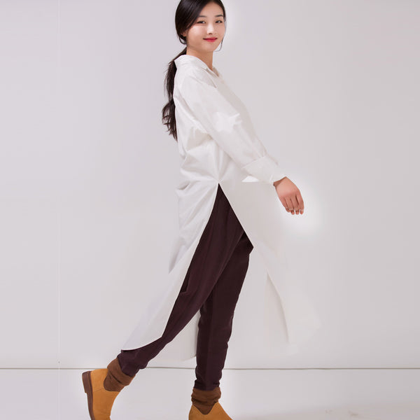 Women's Cotton Long Cardigan Shirt Dress