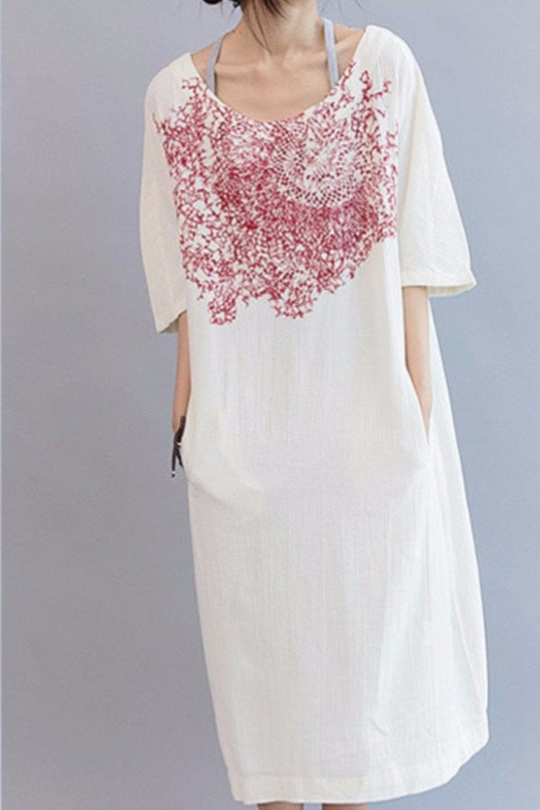 Red Embroidery White Long Dress Cotton Linen Causal Clothes Q3101 - FantasyLinen