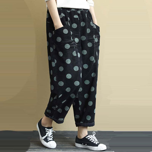 Women's Casual High Waist Polka Dots Corduroy Pants