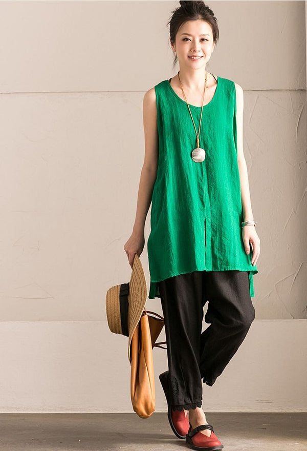 Light Green Cotton Linen Sleeveless Casual Long Shirt Summer and Spring For Women clothes B636B - FantasyLinen