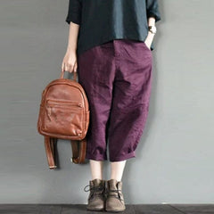 Purple Linen Turnip Pants Simple Causel Trousers Women Clothes