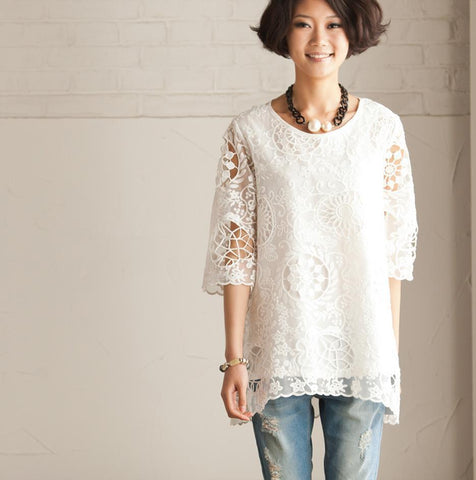 Summer White Bud Silk Shirt- Lovely Female Tops Round Neck Long Sleeve Blouse Loose Cotton Shirt