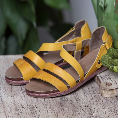 Yellow Handmade Sandals Ladies Summer Women Shoes E05008