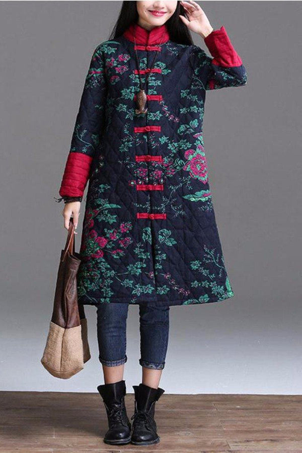 China Style Maxi Size Warm Coat Fitting Tops Women Clothes W8252A - FantasyLinen