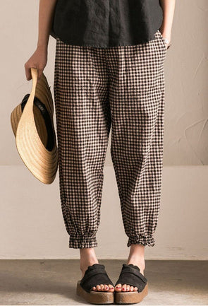 Art Casual Black White Grid  Pants Cotton Women Clothes K9653B  - FantasyLinen