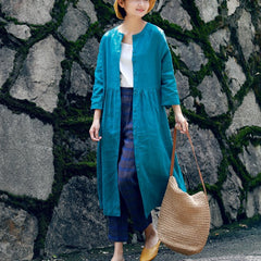 Women Loose Linen Cardigan Dress