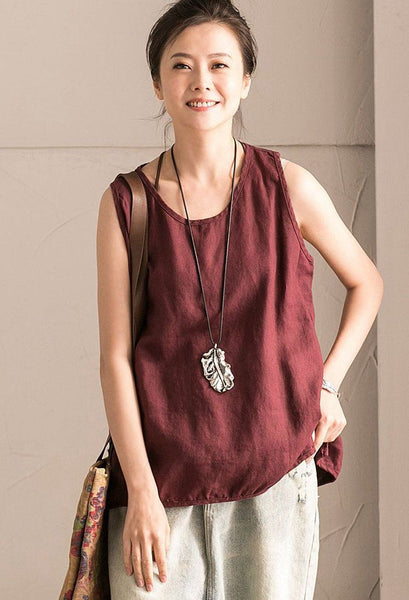 Red Summer Linen Loose T-shirt For Women Top B102B