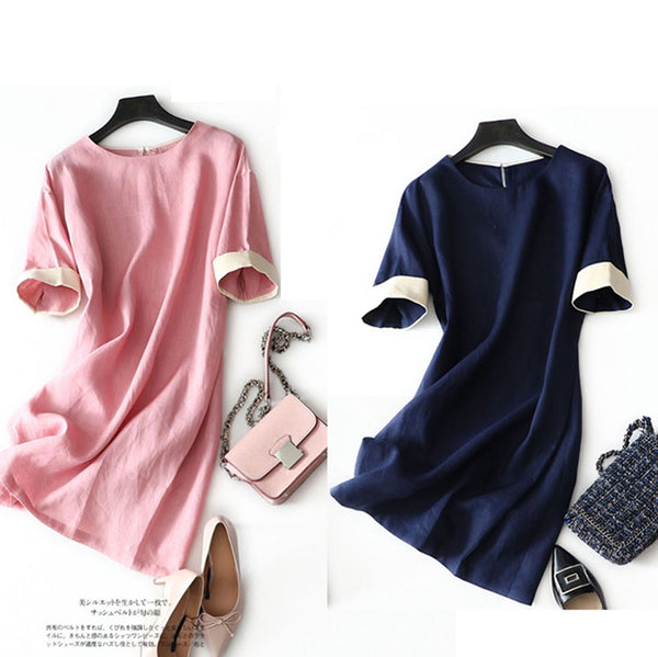 Simple Casual Spliced Linen Dress Women Clothes
