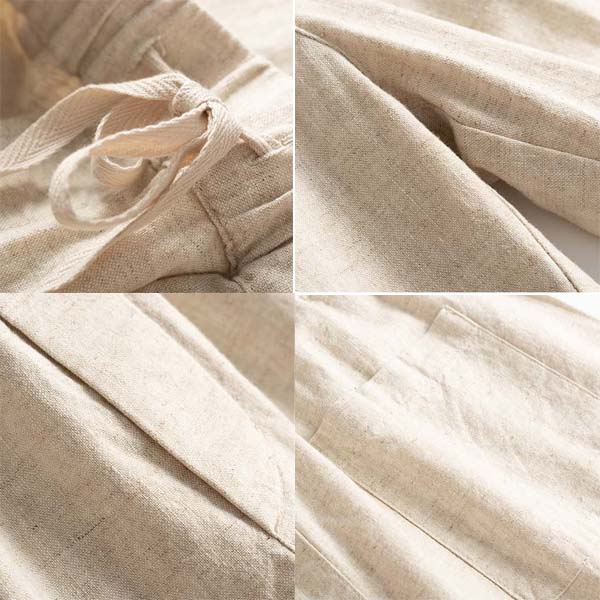 Pure Color Linen Casual Pants Women Drawing Trousers
