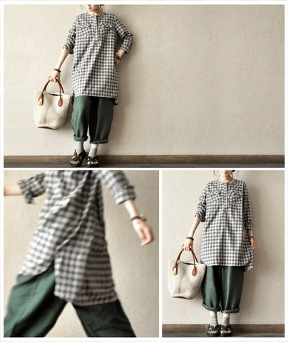 Dark Checks Cotton Long Shirt Women Tops Fashion Clothes LR15