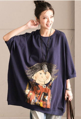 Blue Art Cartoon Girl Lovely Round Neck T-shirt Spring Clothing T5102B