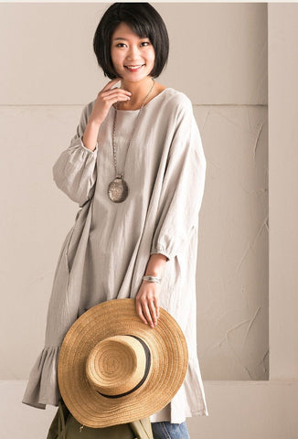 Gray Green Korean Style Cotton Linen Falbala Bat Sleeve Round Neck Loose Women Clothes Q8300B