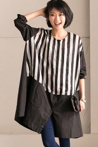 Stripe Big Size Round Neck Long Shirt Dress Summer and Spring Women Top Q2706A