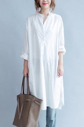 White Fashion Pure Color Cotton Long Shirt Dresses Q3101A - FantasyLinen