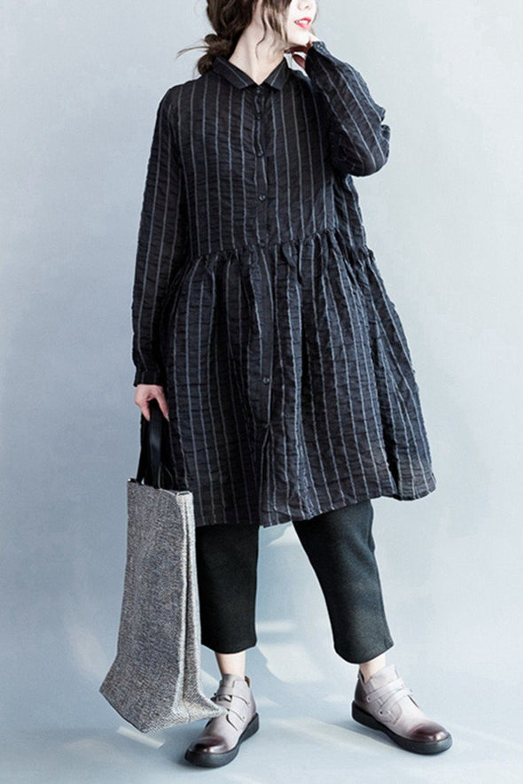 Bubble Cotton Black Stripe Lovely Dresses Long Sleeve Women Clothing Q3124 - FantasyLinen