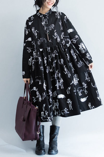 White Flower Cotton Black Doll A-style Long Sleeve Dresses Women Clothing Q3103