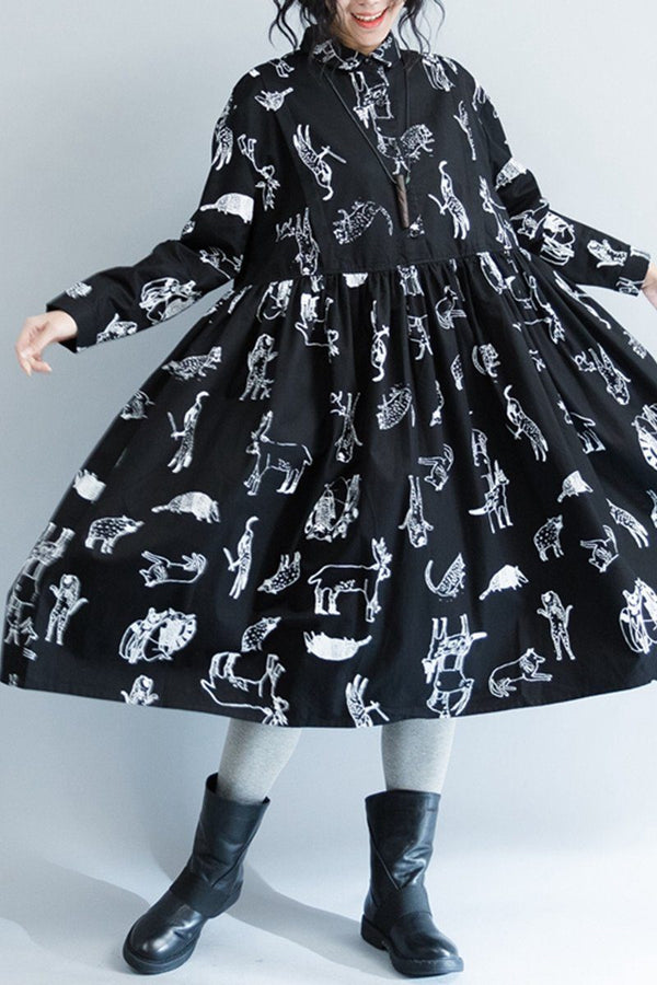 White Flower Cotton Black Doll A-style Long Sleeve Dresses Women Clothing Q3103 - FantasyLinen