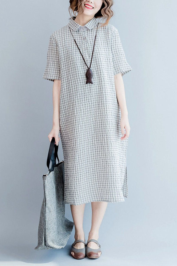 Gray Grid Long Summer Dresses Women Clothing Q3104 - FantasyLinen