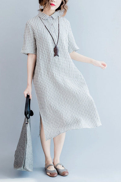 Gray Grid Long Summer Dresses Women Clothing Q3104