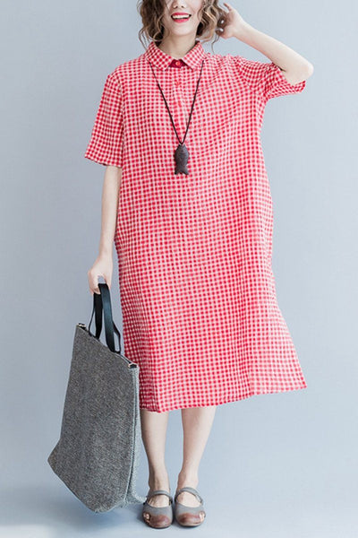 Red Grid Long Summer Dresses Women Clothing Q3104