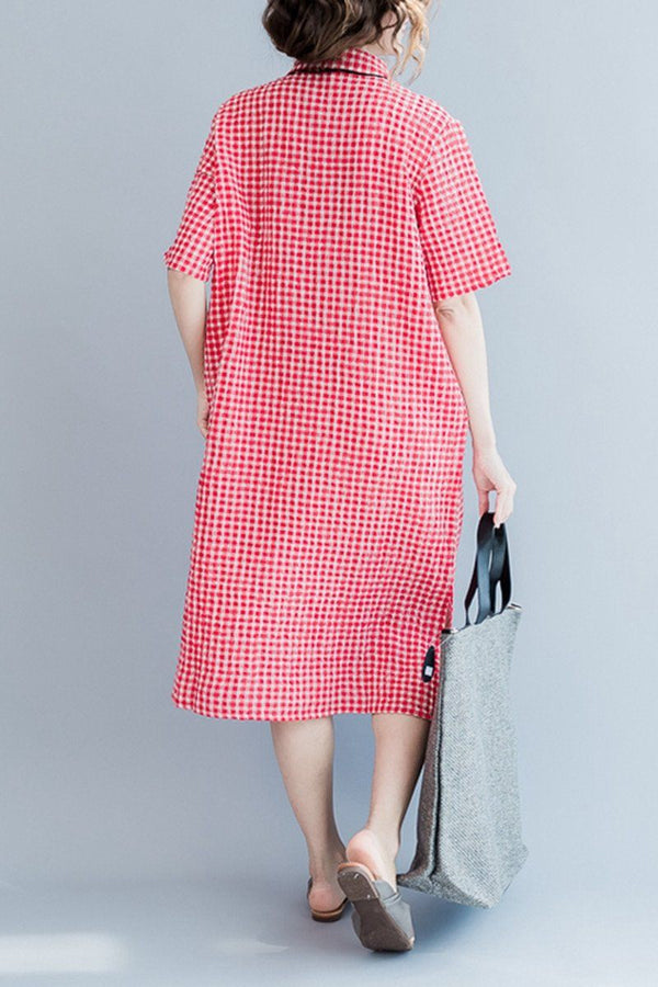 Red Grid Long Summer Dresses Women Clothing Q3104 - FantasyLinen