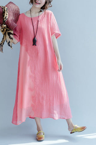 Red Embroidered Silk Linen Long Summer Dresses Women Clothing Q3105