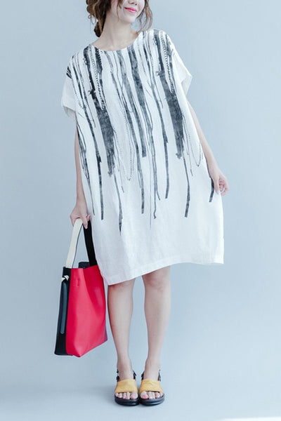 White Casual Ink Printing Linen Summer Dresses Women Clothing Q3106