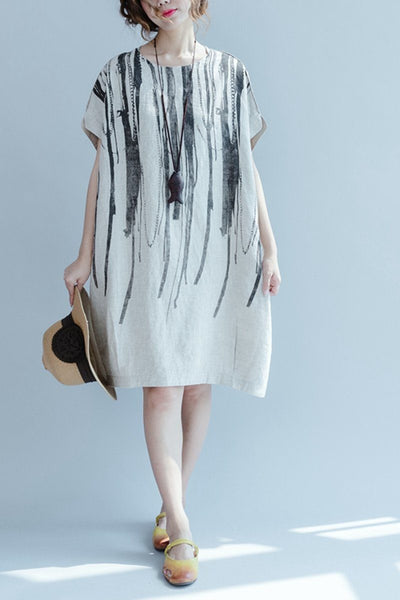 Rice Casual Ink Printing Linen Summer Dresses Women Clothing Q3106