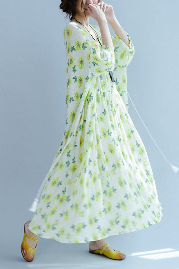 Green A little Flower Casual Holiday Summer Dresses Women Clothing Q3107 - FantasyLinen