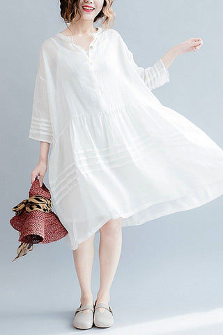 White Casual Big Hem Linen Summer Shirt Dresses Women Clothing Q3108