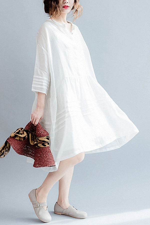 White Casual Big Hem Linen Summer Shirt Dresses Women Clothing Q3108 - FantasyLinen