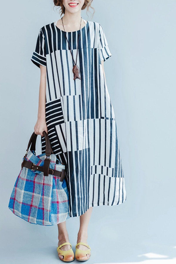 Blue and White Stripe Linen Summer Long Dresses Women Clothing Q3110 - FantasyLinen