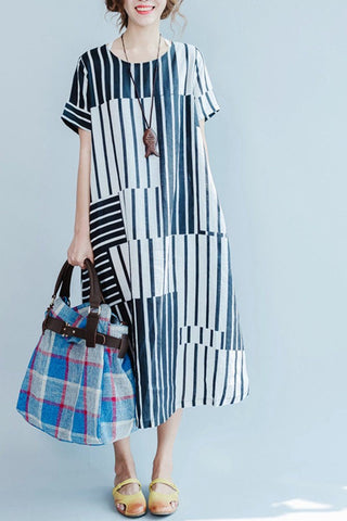 Blue and White Stripe Linen Summer Long Dresses Women Clothing Q3110