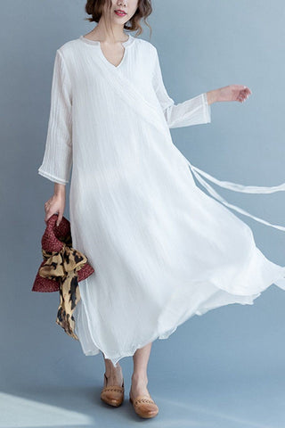 White Silk Linen Long Summer Dresses V-Neck Women Clothing Q3111