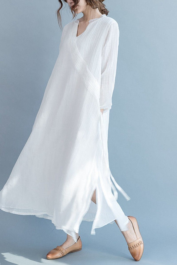 White Silk Linen Long Summer Dresses V-Neck Women Clothing Q3111 - FantasyLinen