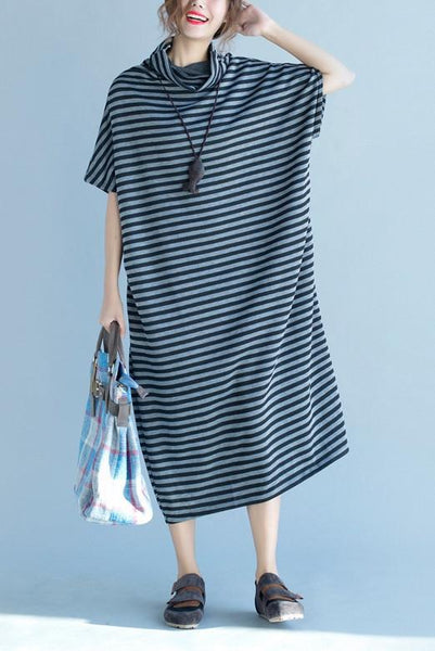Stripe Oversize Short Sleeve Dress Summer and Spring Women Clothes Q3112