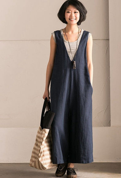 Blue V-Neck Causal Cotton Linen Oversize Overalls Women Clothes K289BG - FantasyLinen
