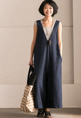Blue V-Neck Causal Cotton Linen Oversize Overalls Women Clothes K289BG